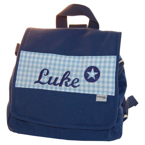 Kindergartentasche mit Namen blau von Lieblingsstücke