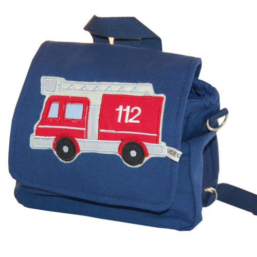 Kindergartentasche Feuerwehrauto mit Namen in blau Lieblingsstücke