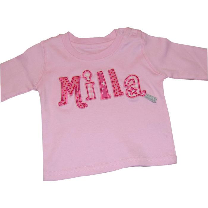 Langarmshirt mit Namen in rosa Lieblingsstücke