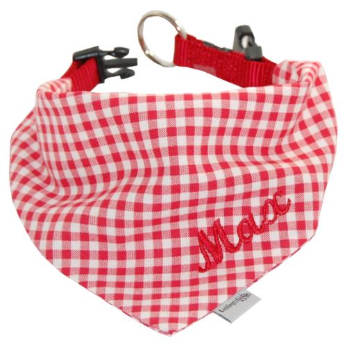Hundehalsband mit Namen rot-kariert Lieblingsstücke