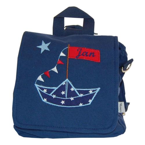 Kindergartentasche mit Segelboot und Namen von Lieblingsstücke
