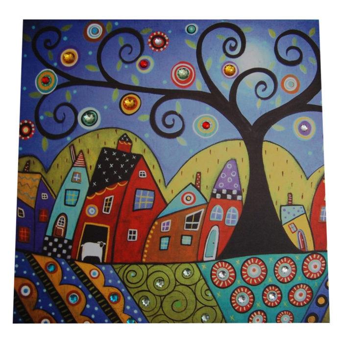farbenfrohes Bild Baum mit Häuserern sowie Schmucksteine