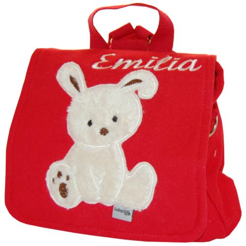 Kindergartentasche Häschen mit Namen in rot von Lieblingsstücke