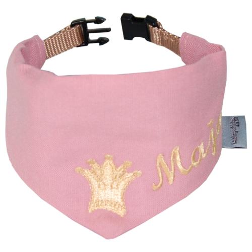 Halstuch für Hunde mit Namen und Krone von Lieblingsstücke 4330 in rosa und gold