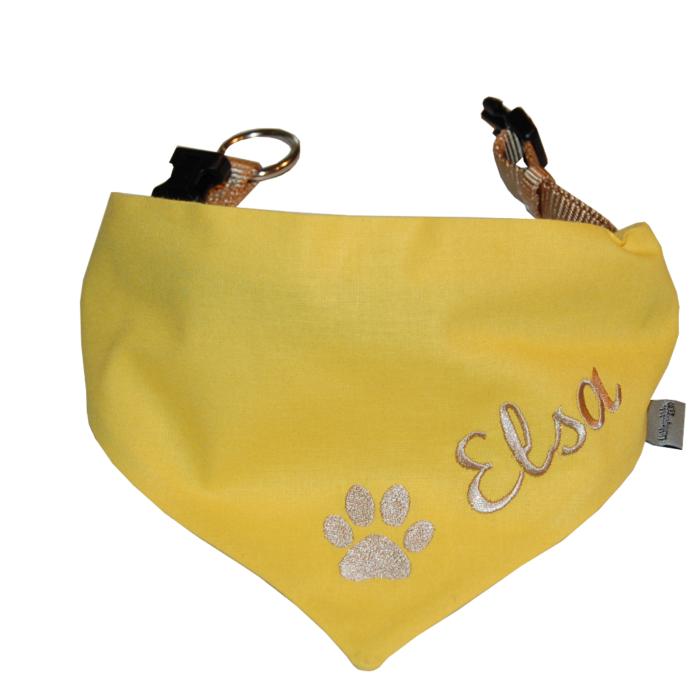 gelbes Hundehalsband mit Namen und Pfote