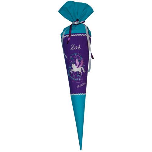 Pegasus Schultüte mit Namen in lila und türkis von Lieblingsstücke.