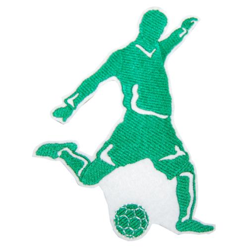Fußballer Aufnäher in grün und weiß von Lieblingsstücke. Gestickter Fußballer zum Selbstgestalten