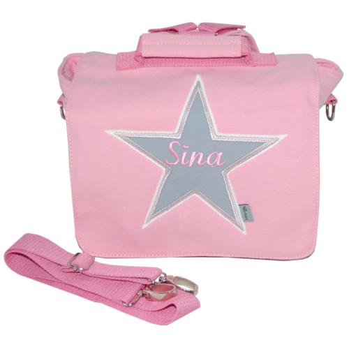 Kindergartentasche mit Stern und Namen in rosa und grau von Lieblingsstücke