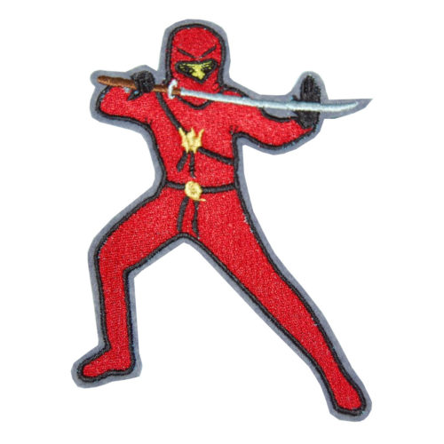 Ninja Aufnäher in rot von Lieblingsstücke 4330. Ninja zum Aufnähen oder Aufkleben. Gestickter roter Ninja