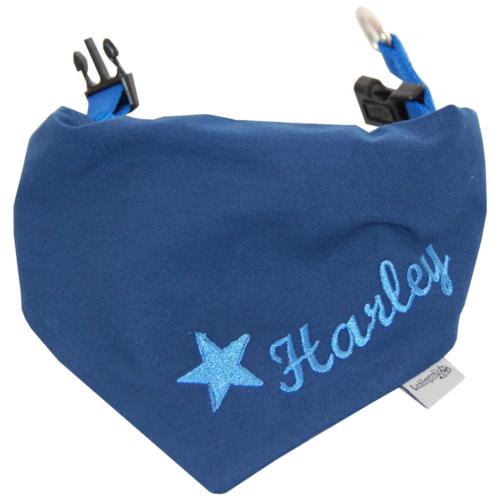 Halstuch für Hunde mit Namen von Lieblingsstücke 4330 in dunkelblau mit Stern