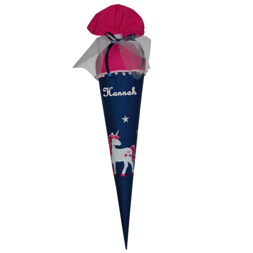 Schultüte mit Einhorn und Namen n dunkelblau und pink von Lieblingsstcke 4330