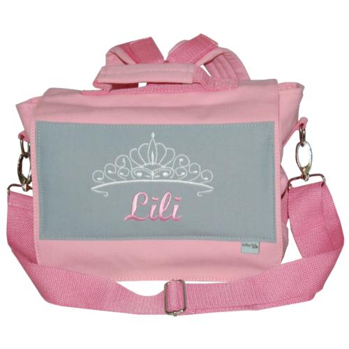 Lieblingsstücke Kindergartentasche mit Diadem und Namen in rosa und grau