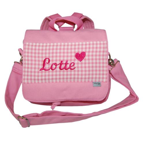 Kindergartentasche mit Namen in rosa von Lieblingsstücke 4330 - wandelbare in einen Rucksack